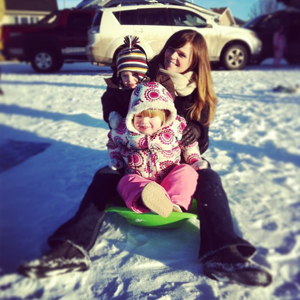 tobogganing with Mommy
