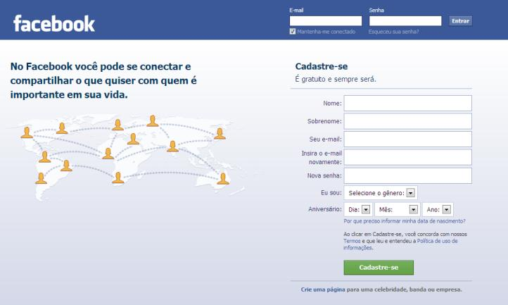 Facebook Login tela inicial