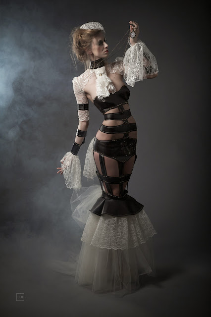 Leather And Lace Steampunk Couture Dress