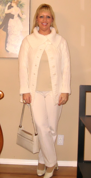 winter white outfit with pearls