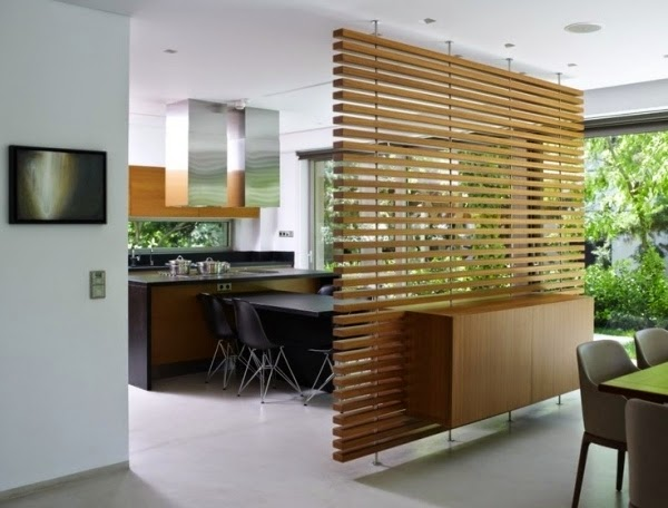 20 decorative partition wall design ideas and materials - Wooden glass partition design ...