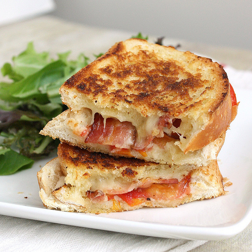 Garlic Rubbed Grilled Cheese with Bacon