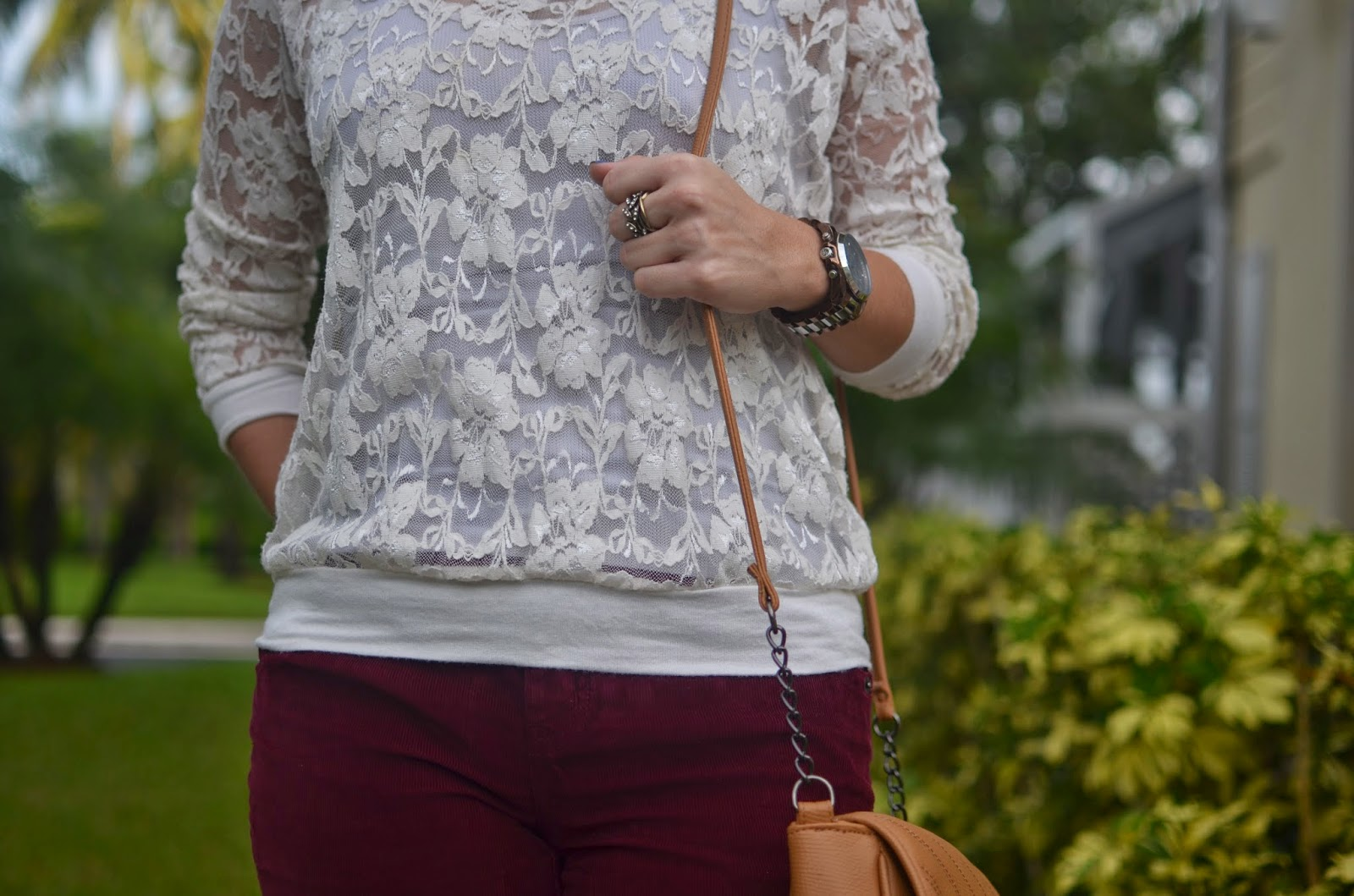 Burgundy pants - lace top - tan cross body - Emma & Sophia
