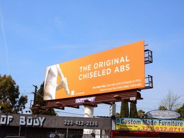 original chiseled abs Getty Villa billboard