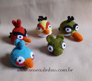 Angry Bird Crochê, Red, Chuck, Al, Pig, The Blue