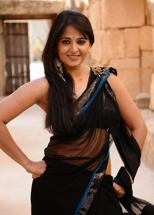 anushka bare back in black saree hot photoshoot