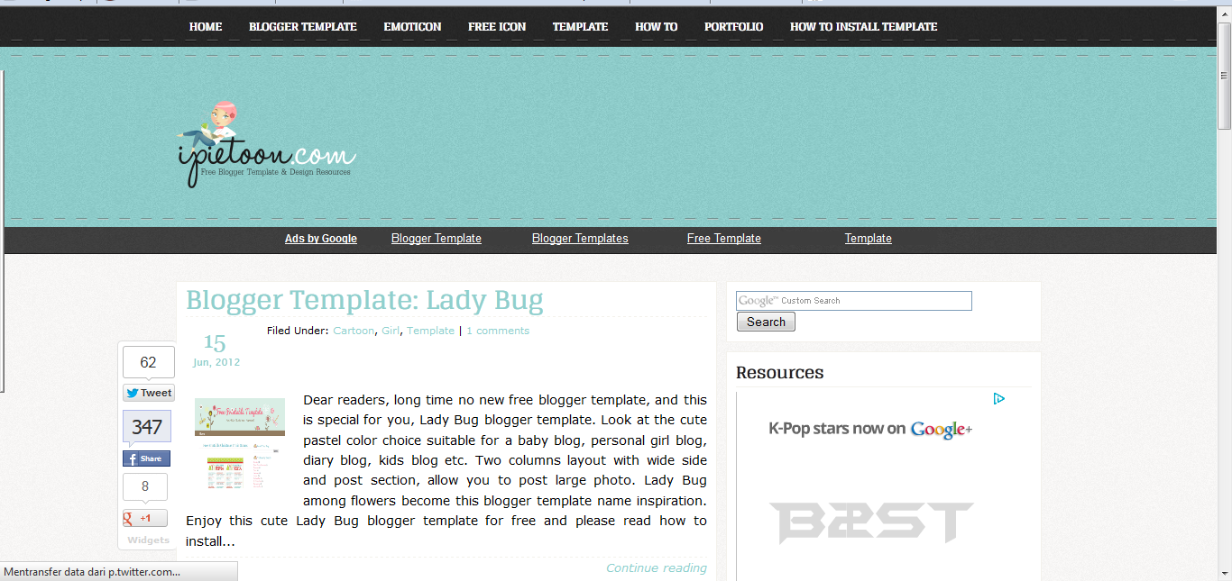 Free theme for windows 7 download template blogger cute for Blogger templates free download 2012