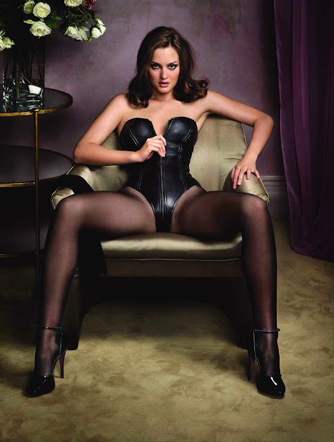 leighton meester legs spread corset stockings
