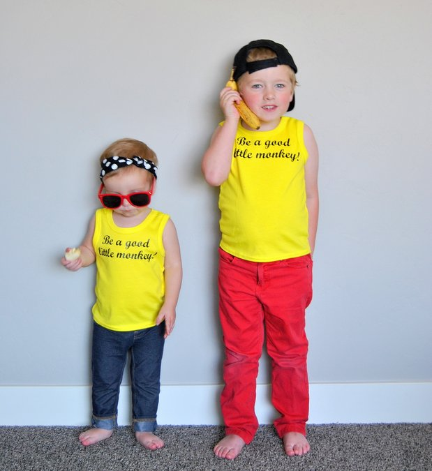 "diy curious george shirt ""be a good little monkey"""