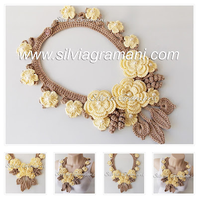 Colar de croche com flores, colar de croche