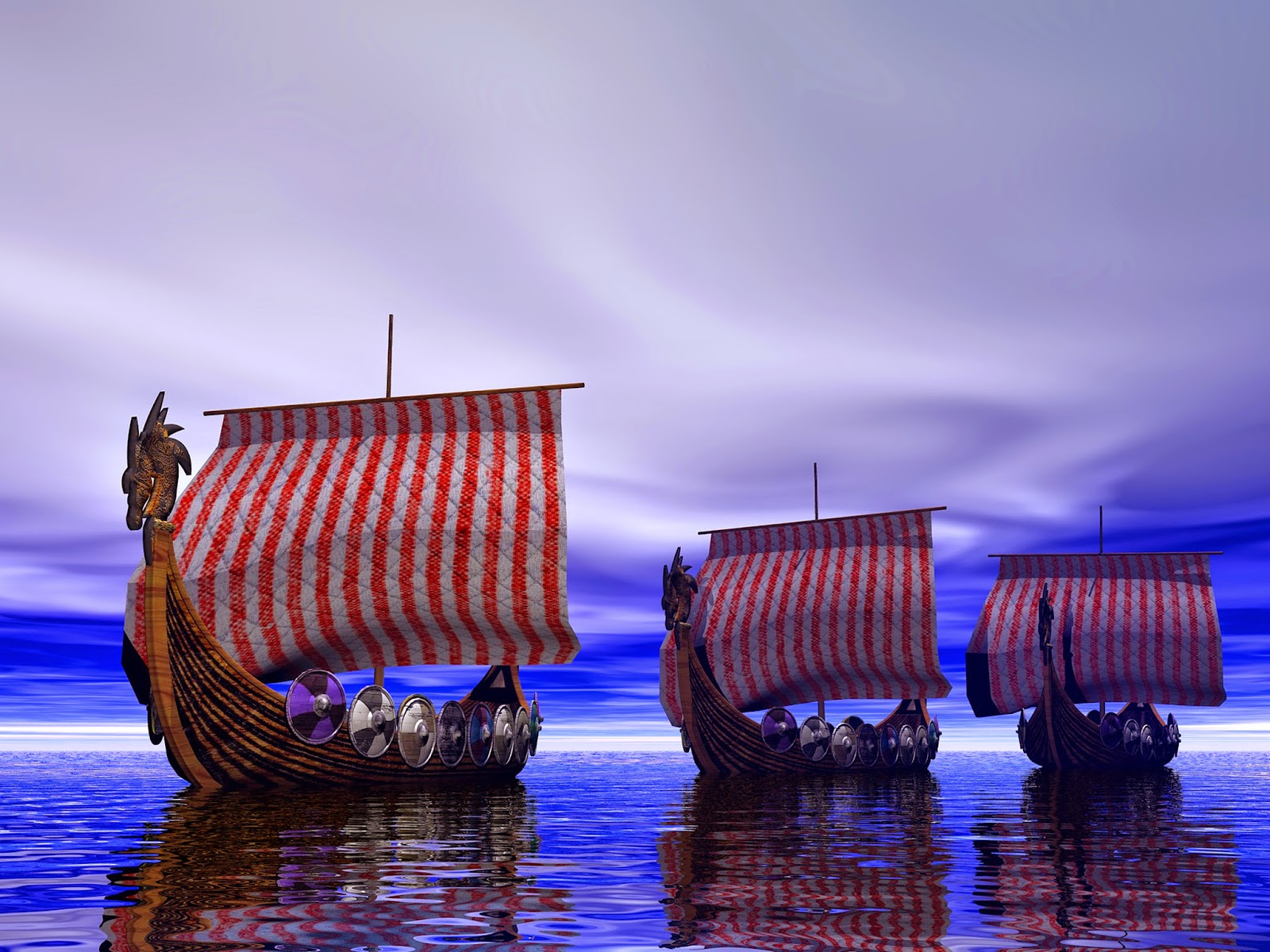 Viking ships saturated