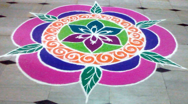 New year 2016 rangoli designs with flowers pictures images