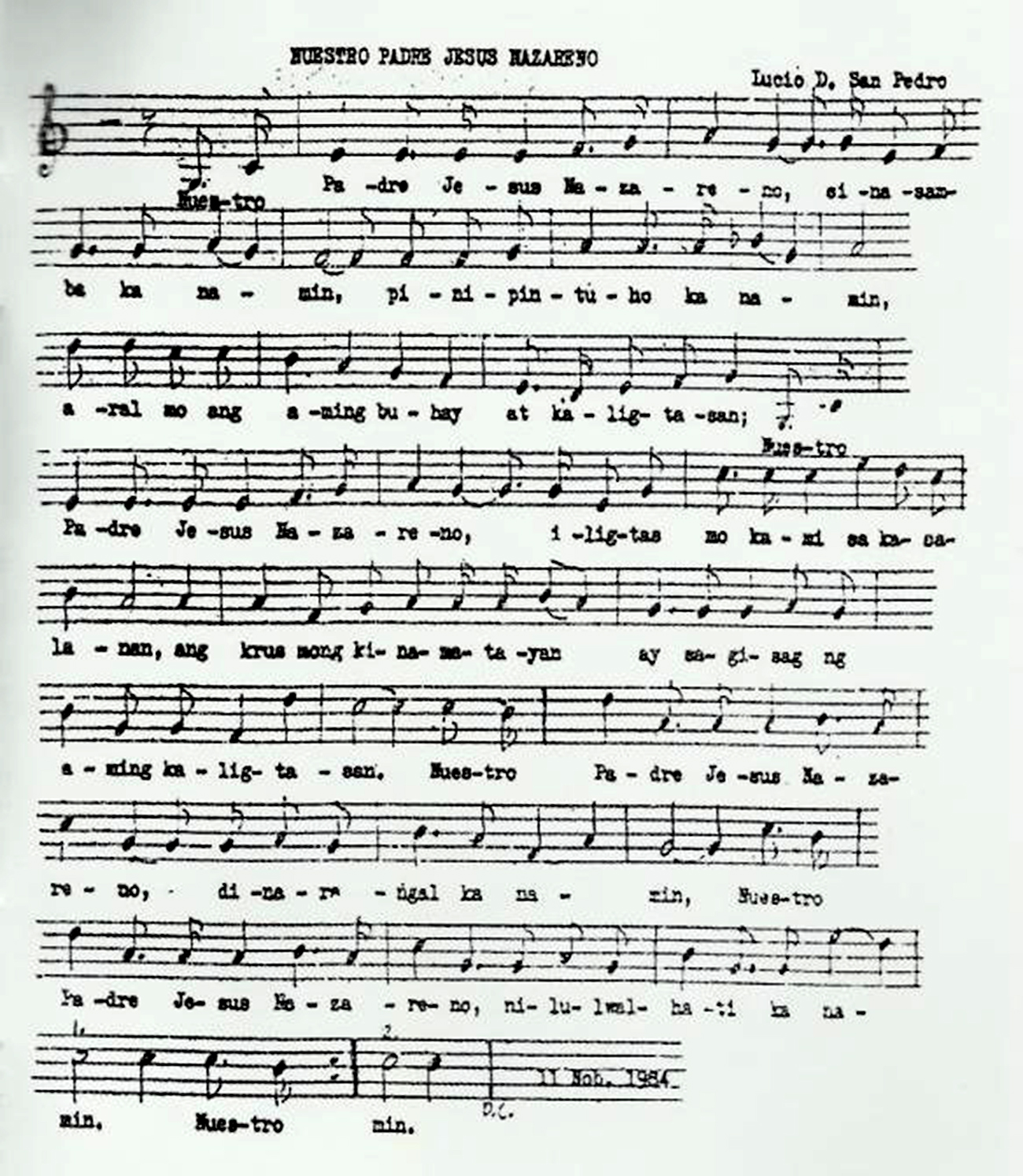 Nuestro Padre Jesus Nazareno Lyrics And Chordsmusic Sheet