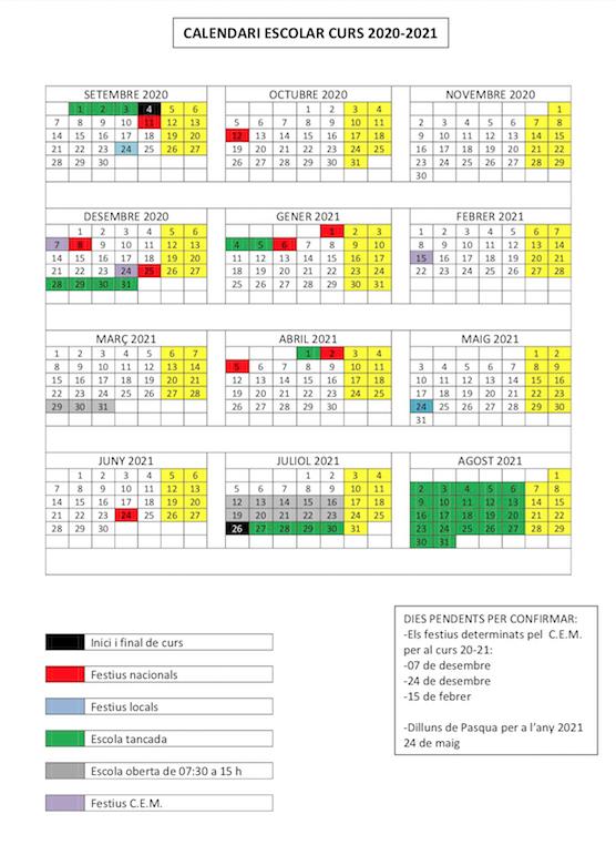 Calendari escolar. Curs 2020-2021