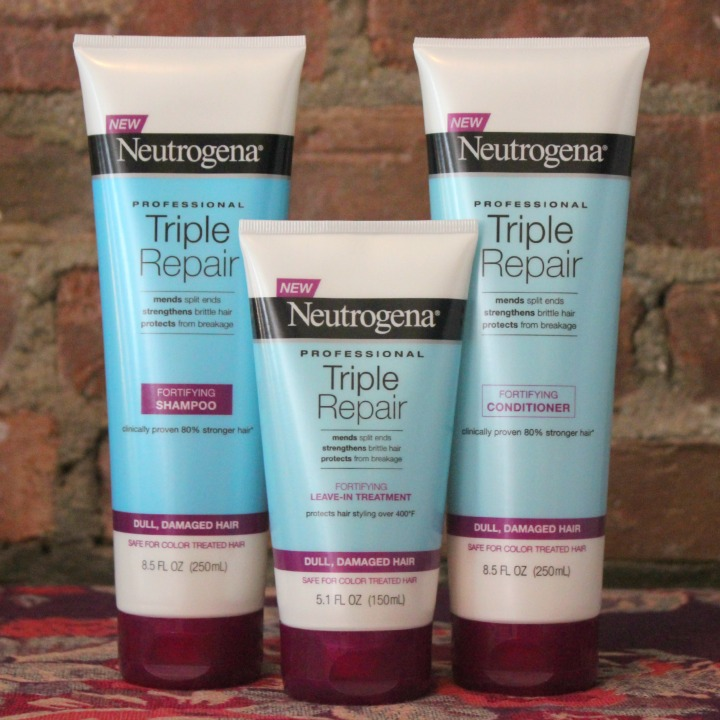 Neutrogena's new Triple Repair haircare system shampoo conditioner leave-in treatment
