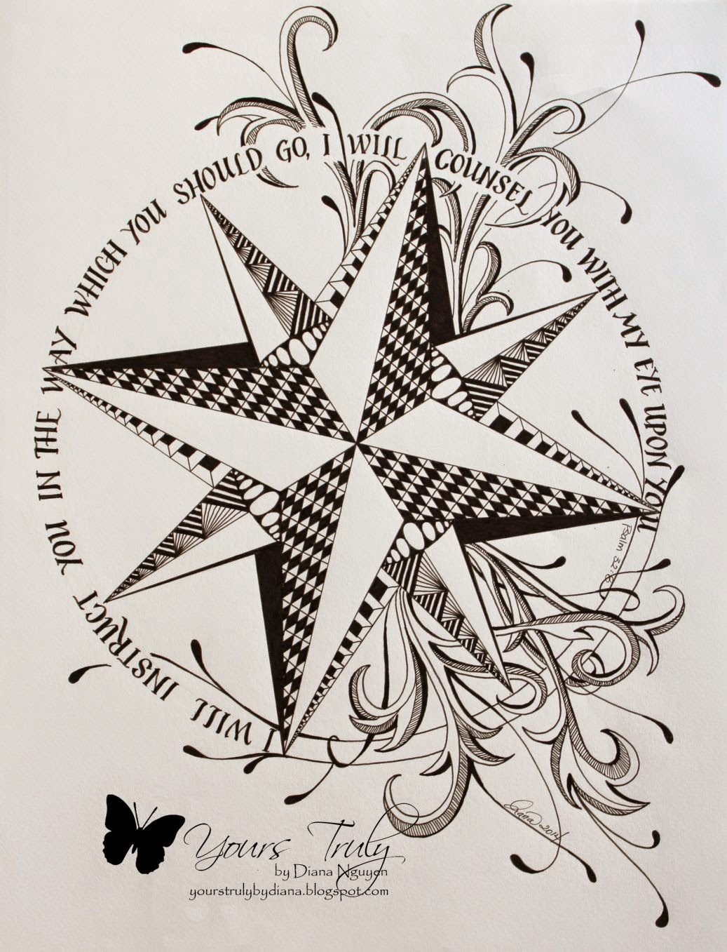 Diana Nguyen, zentangle, scripture, compass
