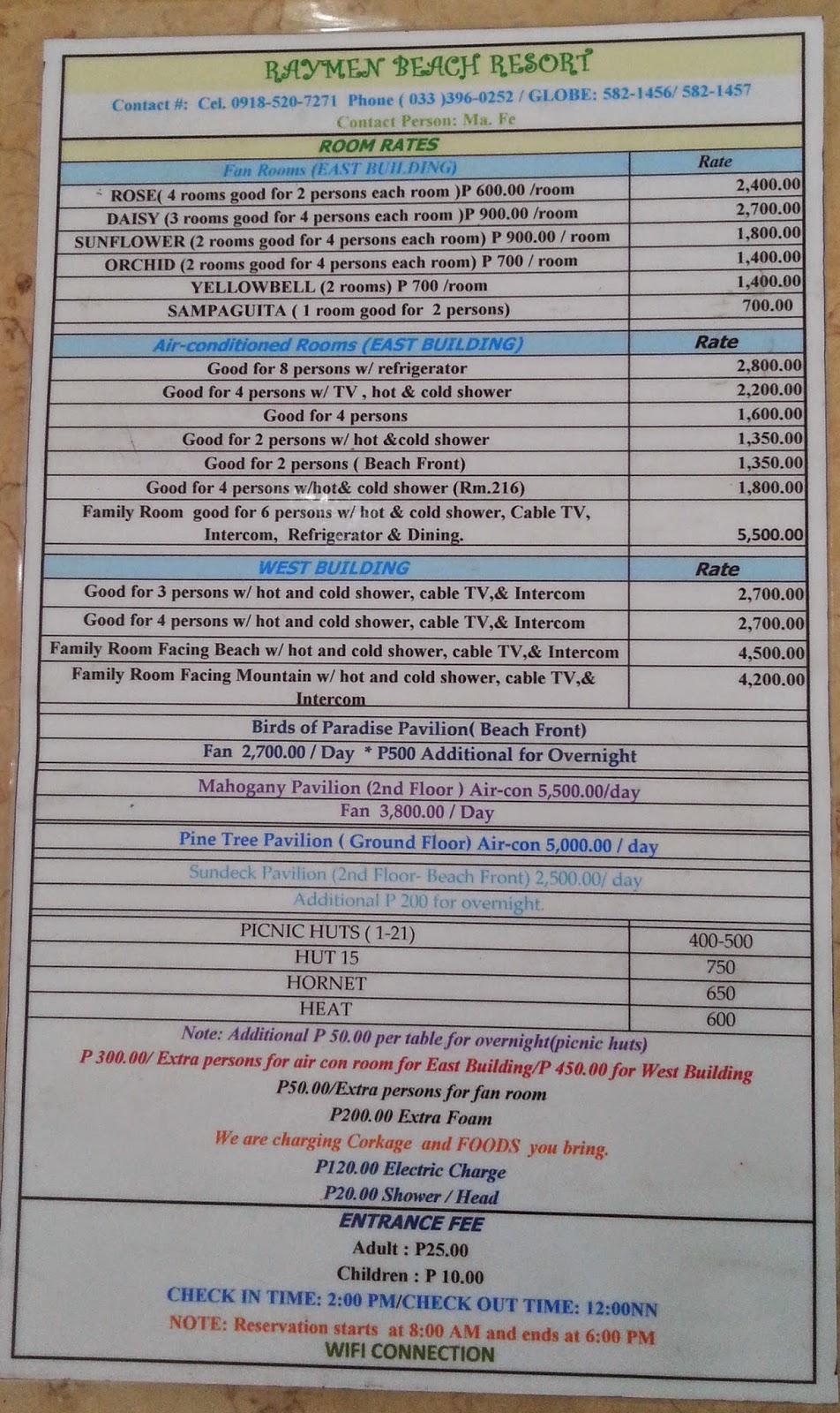 Raymen Beach Resort Room Rates