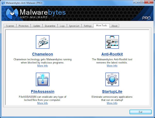 Malwarebytes Anti-Malware 1.7 PRO - Features