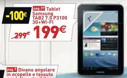 In offerta il Galaxy Tab 2 P3100 a 199 euro da Conforama; miglior prezzo per i negozi fisici