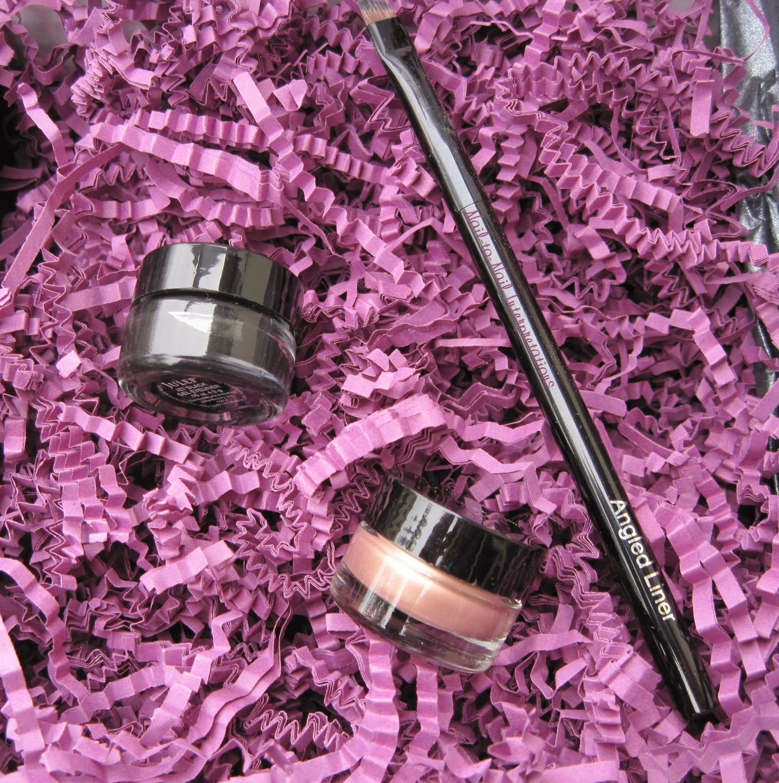 Eye Sheen Liquid Eyeshadow, Ink Gel Eyeliner, and Angled Liner Brush
