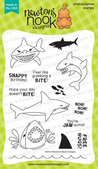 Shark Bites | 4x6 photopolymer shark themed stamp set by Newton's Nook Designs
