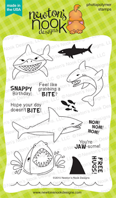 Shark Bites | 4x6 photopolymer shark themed stamp set by Newton's Nook Designs