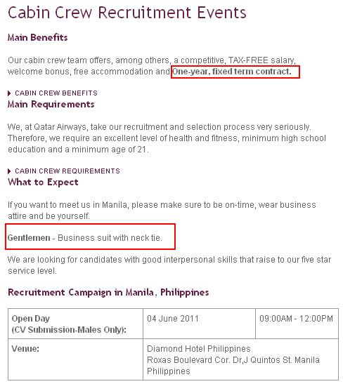Qatar airways hire male cabin crew for Cabin crew recruitment agency philippines