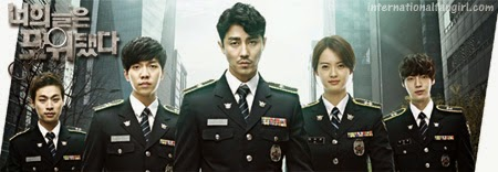 You're All Surrounded 너희들은 포위됐다 poster featuring Park Jung Min 박정민 as, Lee Seung Ki 이승기, Chae Seung Won 차승원, Go Ah Ra 고아라 and Ahn Jae Hyun 안재현 in uniform.