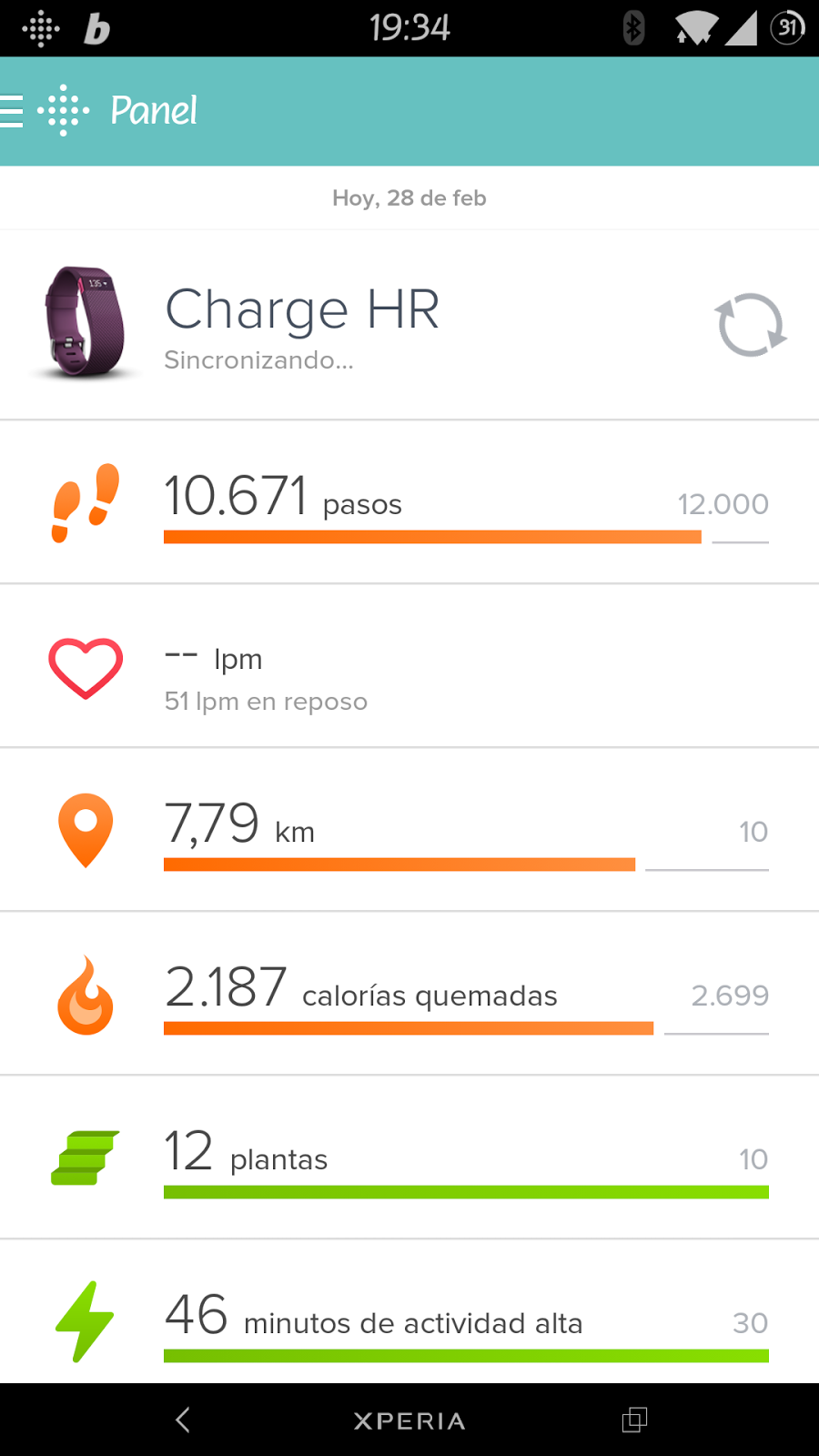 Fitbit app panel