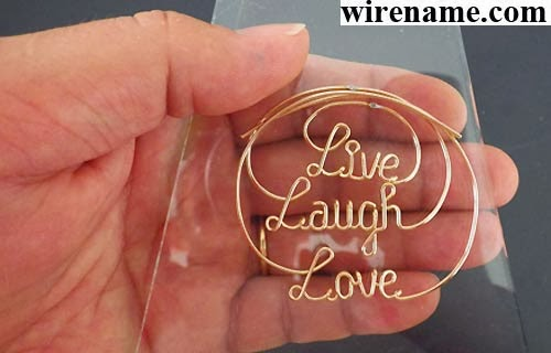 Live Laugh Love in gold-filled wire the circle pendant for choker-necklace or neck-wire