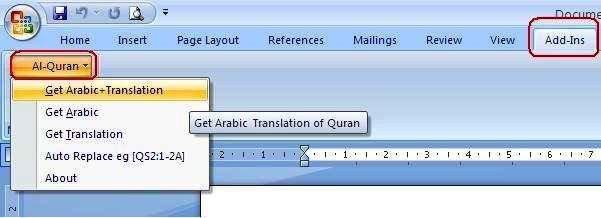 Add-Ins => Al-Qur'an pada ms.word 2007