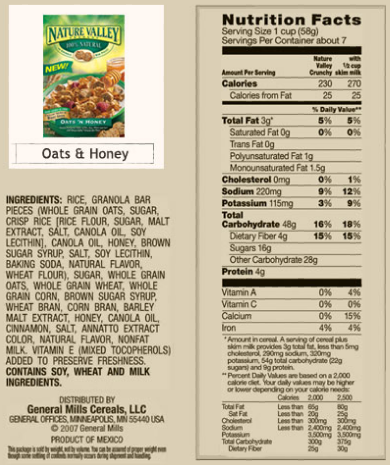 Cereal box information.