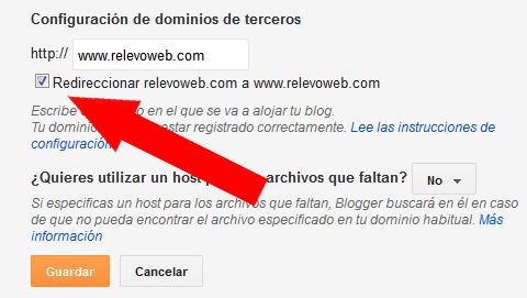 dominio propio configurando para que redireccione a www