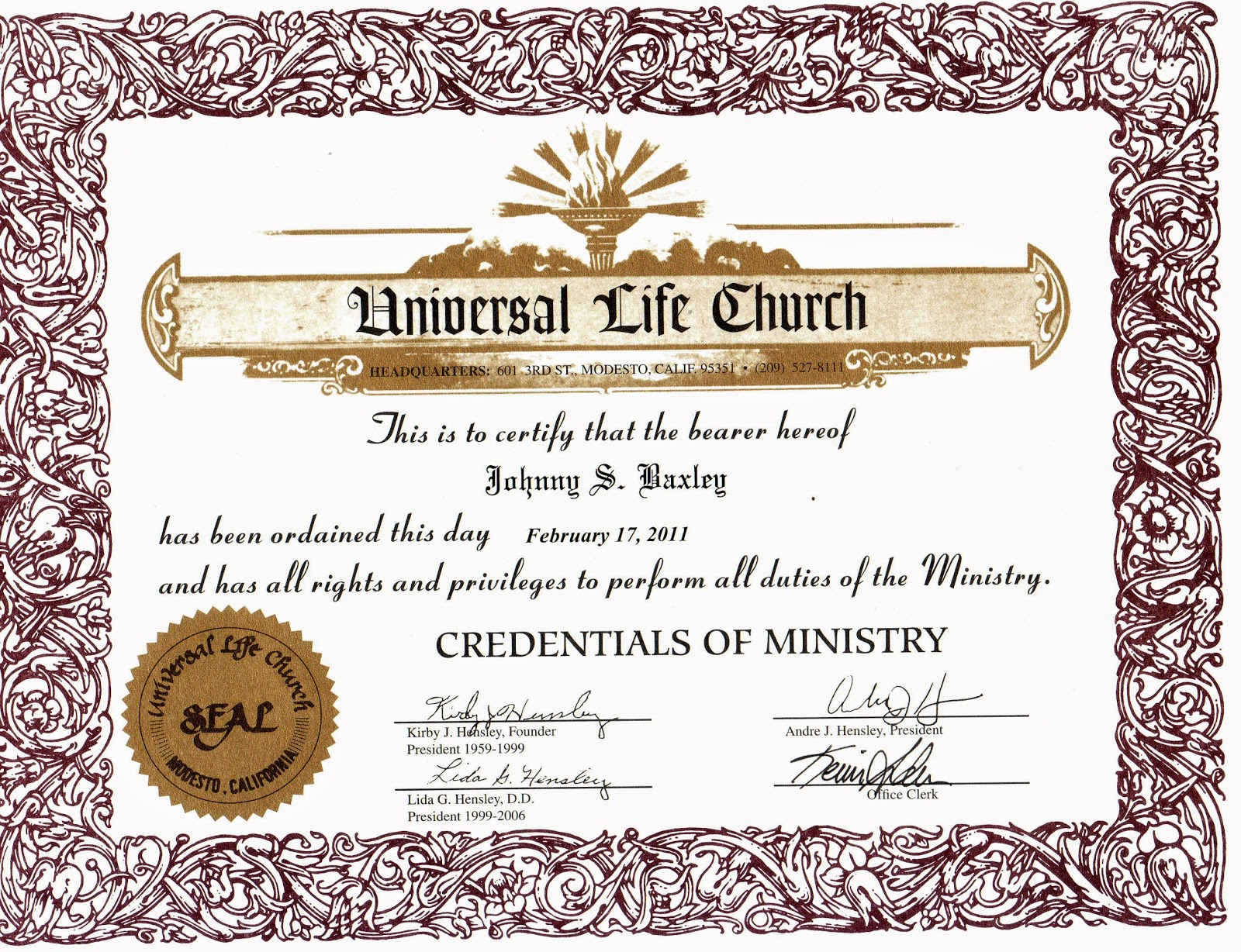 Certificate ordination ministers template for Minister license certificate template