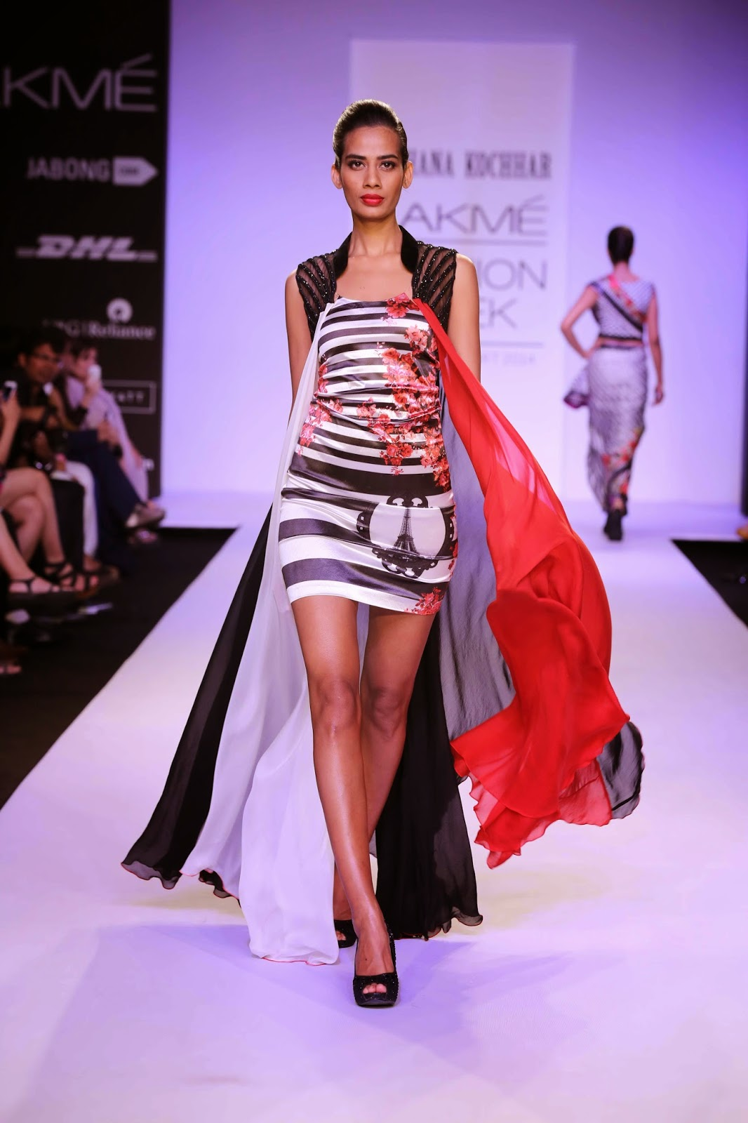 Playing with the stripes in horizontal and vertical forms, Archana had some interesting entries like small gilets over white shirts worn with short frothy skirts.