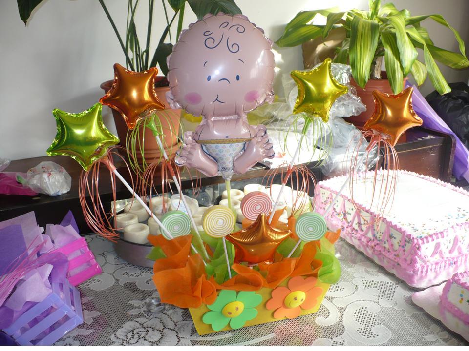 centros de mesa para baby shower con globos met licos   imagui