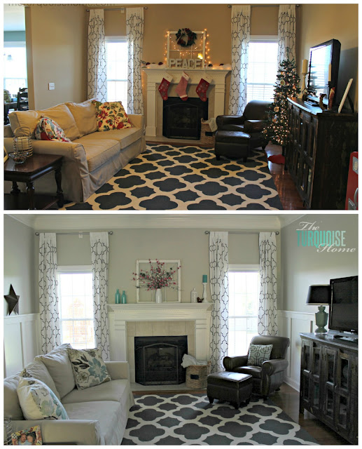 BEFORE & AFTER: Gorgeous Living Room Makeover with beautiful DIY board and batten, Pottery Barn sofa, stenciled curtains, warm wood and pops of turquoise!