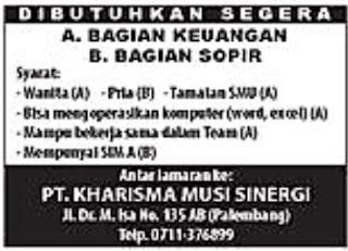 Lowongan Kerja Lowongan Kerja PT. Kharisma Musi Sinergi Palembang