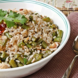 how to make recipe for green bean rice?