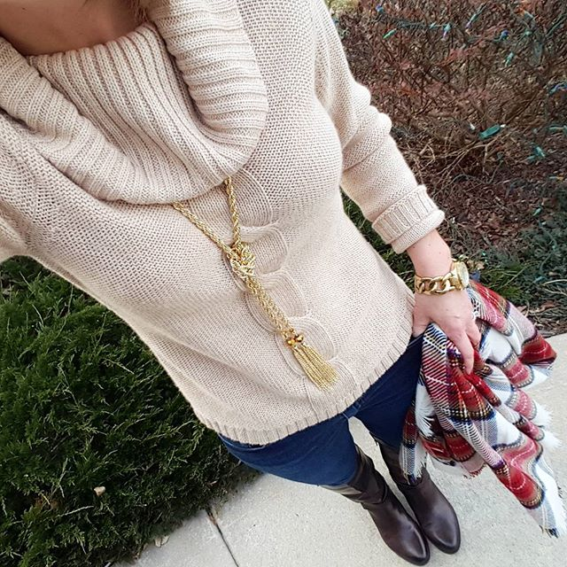 Ann Taylor Sweater (similar) // Purple Peridot Lariat Necklace // Joe's Jeans // Vince Camuto Jaran Riding Boots - 33% off! // Merona Scarf // Michael Kors Runway Watch - sold out in gold (similar under $40)