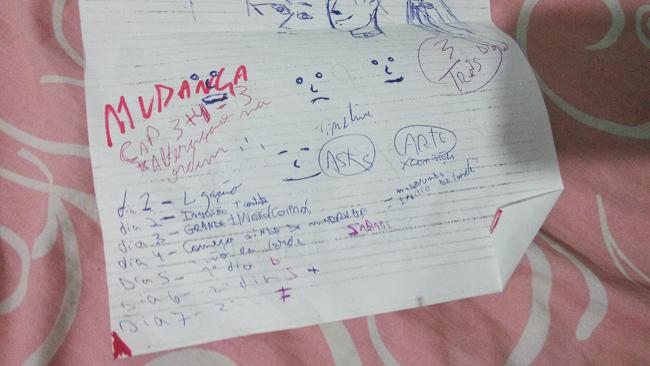 Na imagem: só uns rabiscos anotados no papel contando os dias e o que aconteceu em cada