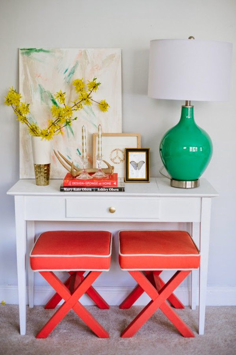 coral stools and turquoise lamp