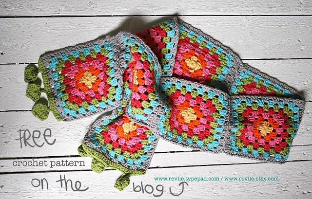 Free Crochet Granny Square Scarf Patterns : tangled happy: Happy Rainbow Scarf