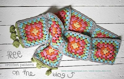 free crochet pattern granny square scarf