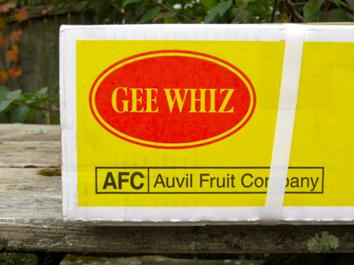 "Box from Auvil Fruit Company with ""Gee Whiz"" logo"
