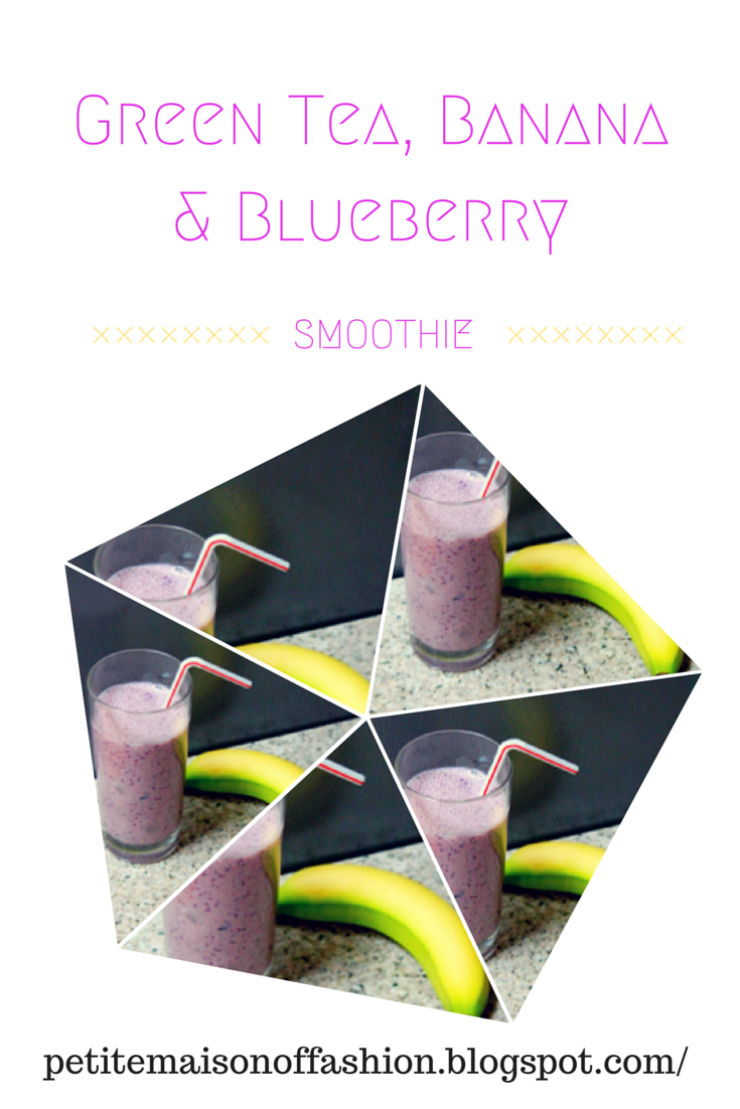 Healthy Detox Green Tea, Banana and Blueberry Smoothie