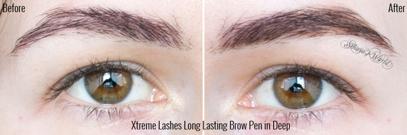 before & after Xtreme Lashes Long Lasting Brow Pen