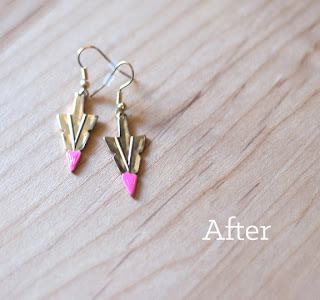 Dangley gold arrow earrings with neon paint at the times, a simple tutorial