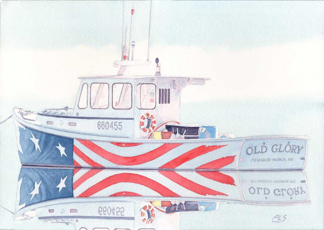 Old Glory II - Watercolor by Paul Sherman