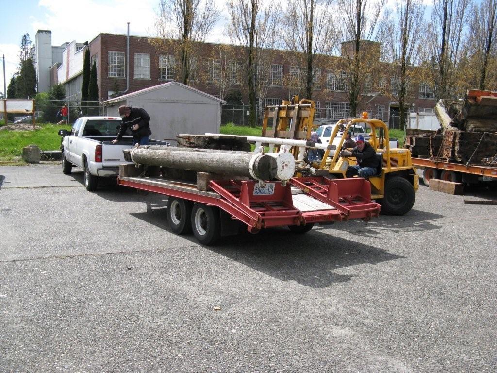 Salvaged bowsprit of the Schooner WAWONA Southbound Seattle to Aberdeen, ...